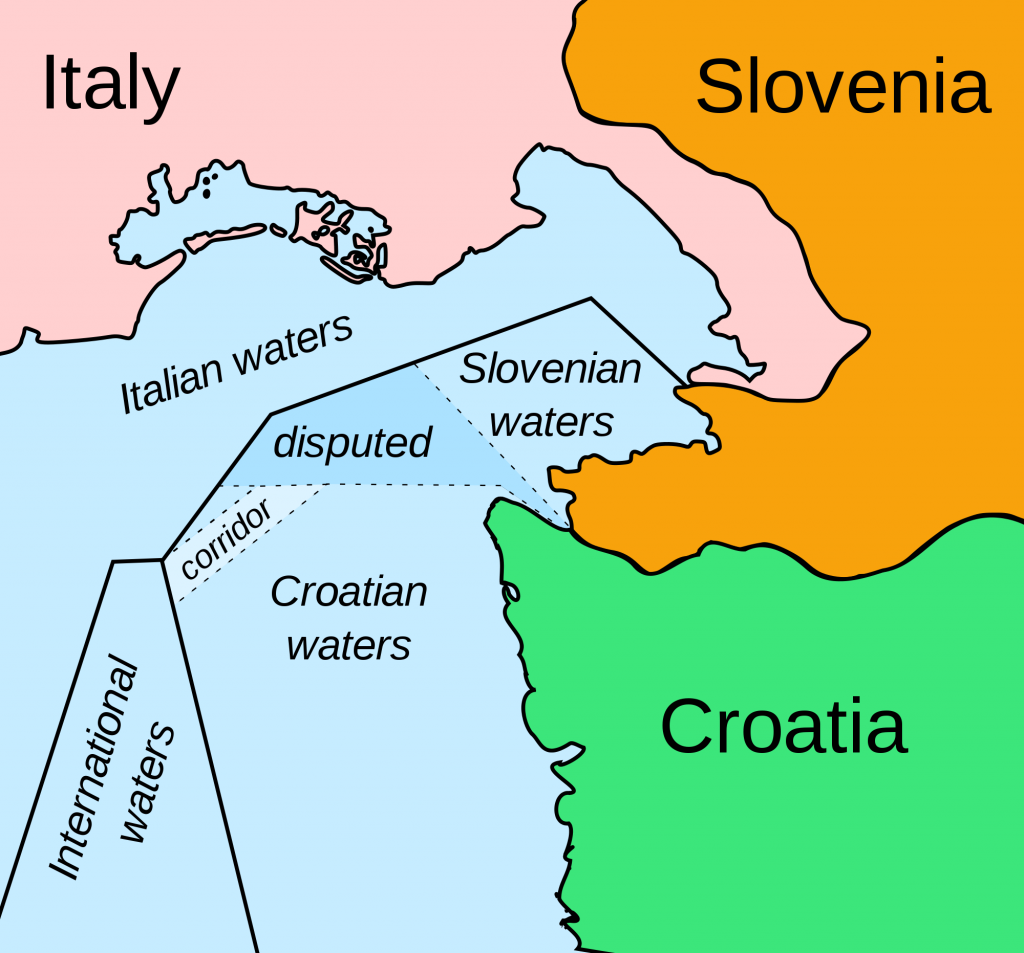 map sloveni croatia border dispute.png